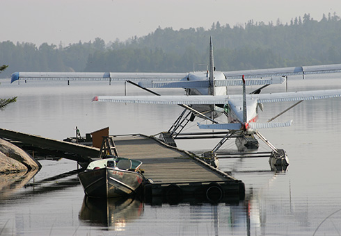 Two docked float planes.