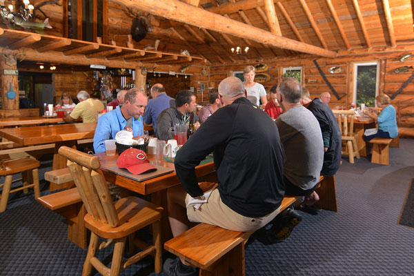 Guests enjoying their breakfast in the Kettle Falls Lodge dining room.