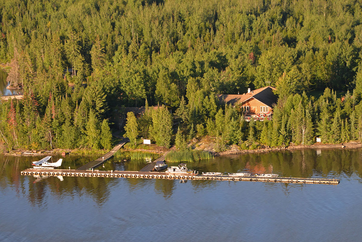 And aerial view of the Lodge and dock at Kettle Falls.