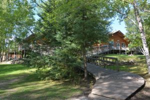 The boardwalk at Kettle Falls fishing resort connects many of our buildings and cabins.