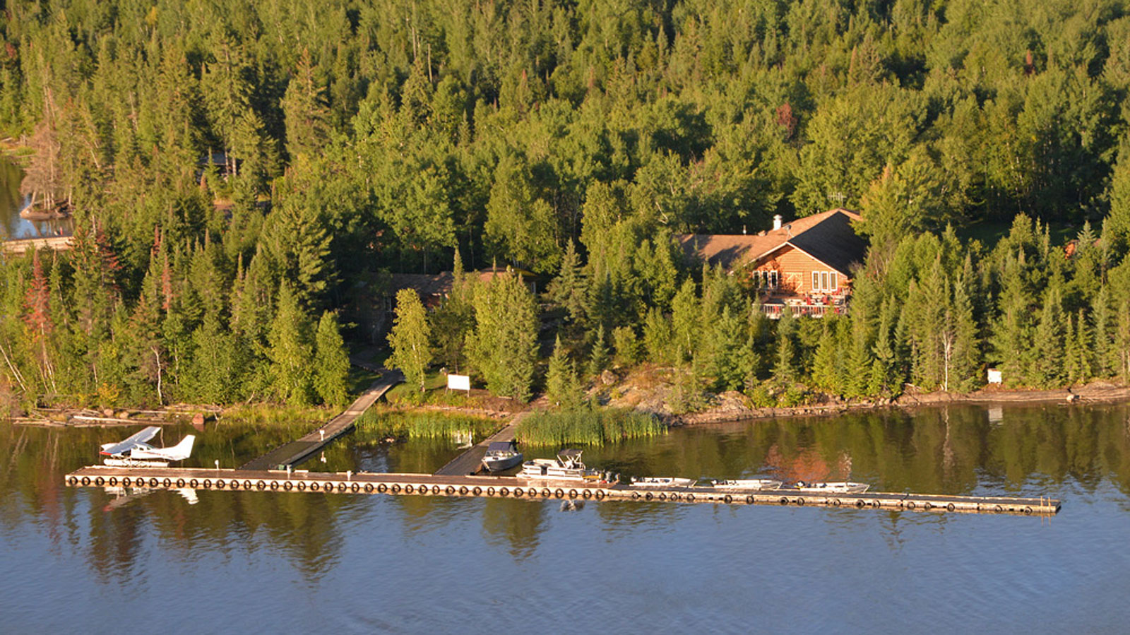 Aerial view of the dock in front of the Lodge at Kettle Falls