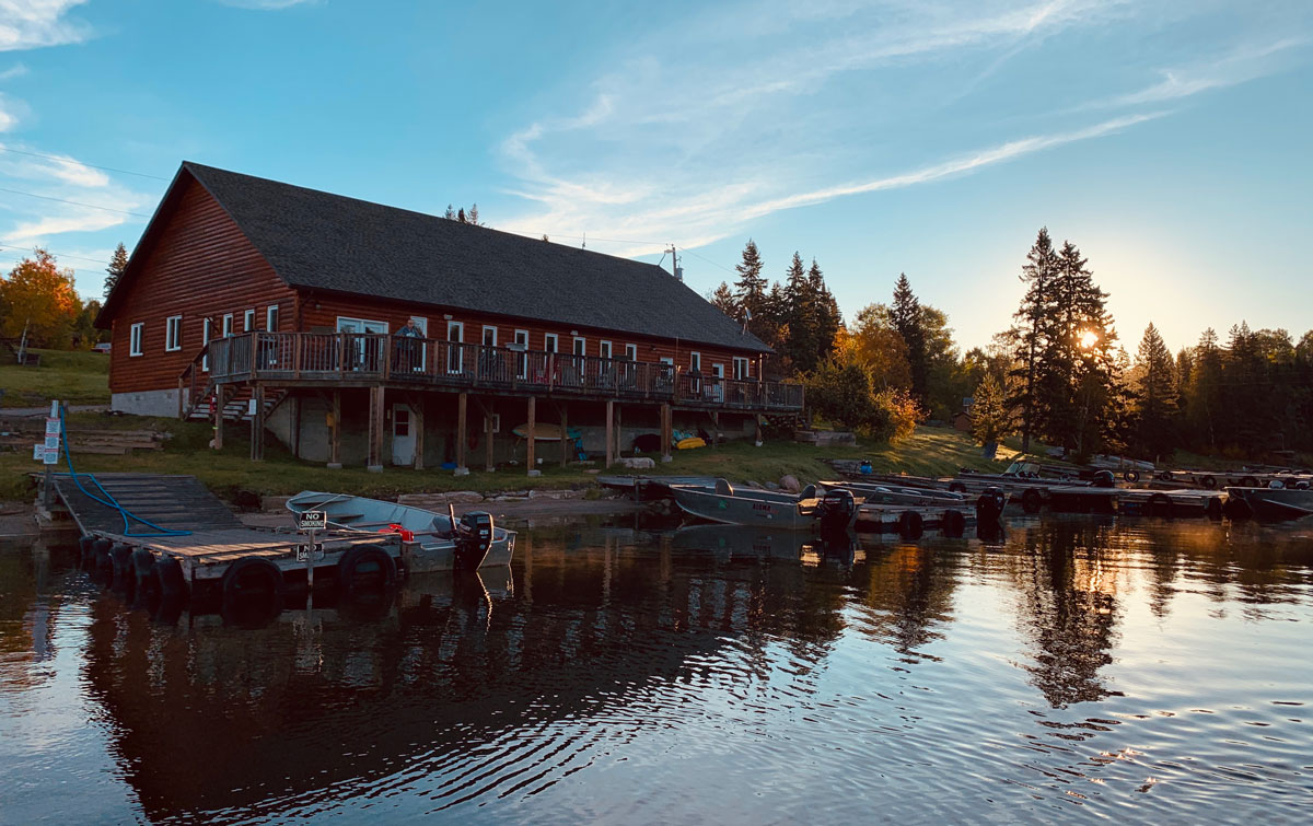 View of the Lodge from on the water at sunset